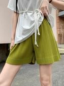 2020夏季薄款寬鬆直筒闊腿顯瘦綠色運動短褲褶皺女中褲高腰五分褲 韓國時尚週