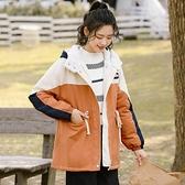 秋冬保暖羊羔毛棉服女加厚連帽外套學生拼色棉衣潮 【新春特惠】