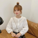 燈籠袖上衣 襯衣早春秋新款潮時尚白色圓領襯衫女裝爆款甜美減齡上衣服-Ballet朵朵
