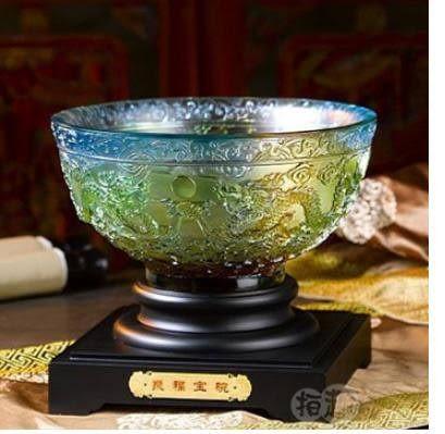 古法琉璃擺件 聚福寶碗 裝飾品