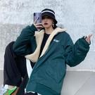 衝鋒外套 兩面穿羊羔絨外套女冬季韓版寬鬆潮牌學生棒球服沖鋒棉衣 韓流時裳