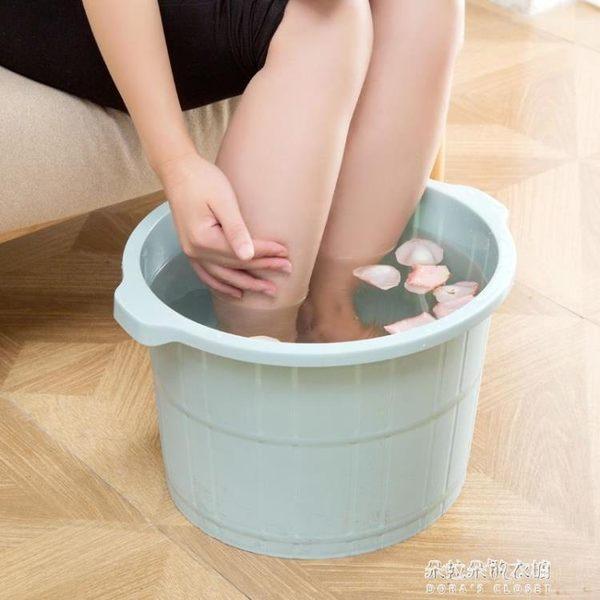 帶按摩泡腳桶加高洗腳盆 塑料加厚足浴盆足浴桶洗腳桶 朵拉朵衣櫥