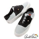 Arnold Palmer - 可愛水玉點點蕾絲感拼布休閒帆布鞋 076-白黑