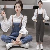 新款2019網紅減齡春秋款洋氣吊帶褲女學生韓版顯瘦大碼牛仔褲套裝 錢夫人