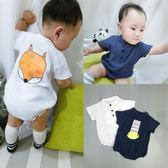 嬰兒連體衣短袖夏裝男女寶寶棉麻卡通嬰幼兒爬服新生兒衣服   LannaS