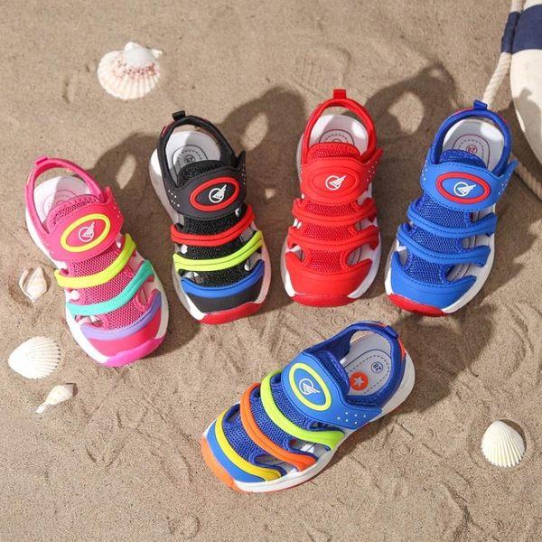 包頭沙灘鞋毛毛蟲男童鞋兒童寶寶涼鞋