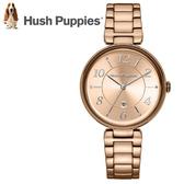 【萬年鐘錶】Hush Puppies 都會女錶  金色錶  日期顯示 不鏽鋼  34mm  HP.3856L.1505