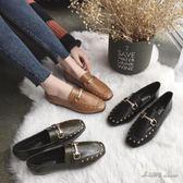 現貨出清豆豆鞋女秋季新款韓版鉚釘淺口方頭平底單鞋社會女鞋【米蘭街頭】