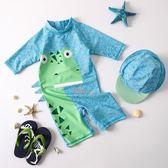 店長推薦 韓國兒童泳衣男童連身可愛時尚恐龍中長袖嬰兒游泳衣度假防曬衣