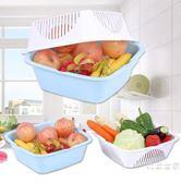 雙層洗菜盆籃塑料家用水果盤漏盆洗菜籃子瀝水籃淘米器廚房瀝水盆
