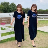 YoYo 中大尺碼連身裙 棉質中長款寬鬆直筒側開叉裙子(XL-4L)AH1058
