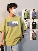 港風短袖男t恤夏季薄款寬鬆潮流韓版上衣日系重磅棉t恤五分袖體恤 「快速出貨」青木鋪子