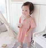 領刺繡連身裙1-4歲嬰兒女寶寶小公主短袖裙