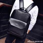 男士雙肩包韓版學生書包休閒小背包潮男潮包英倫復古PU皮質包 艾美時尚衣櫥