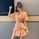 兩件式洋裝 氣質女神范衣服套裝女顯瘦西裝領連身裙輕熟風夏季兩件套 JX1982『東京衣社』