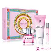 Versace 凡賽斯 香戀水晶女性淡香水粉嫩限量香氛禮盒[淡香水90ml+身體乳150ml+隨身瓶10ml]-公司貨