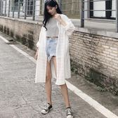 韓版春裝女中長款寬鬆薄款透視格子防曬衫復古港味chic風防曬襯衫 森活雜貨