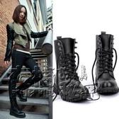 歐美中筒靴馬丁靴女短靴平底單靴黑色機車靴女軍靴騎士靴大碼 衣櫥の秘密