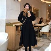 毛呢外套-長版春秋黑色氣質翻領女大衣73wd34【巴黎精品】
