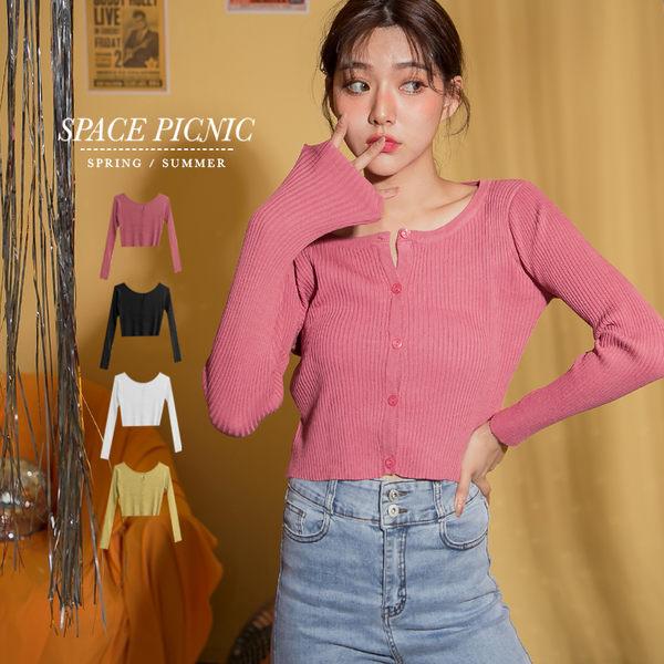 長袖 上衣 Space Picnic|針織不收邊短版排釦上衣(現貨)【C19081053】