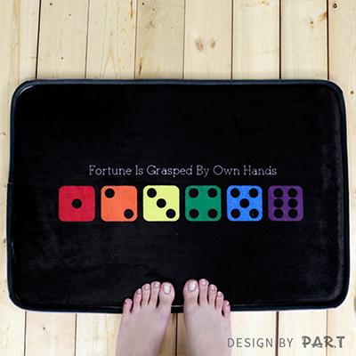 【PAR.T】彩虹文創小物/舒適法蘭絨/居家布置-六彩骰子地墊