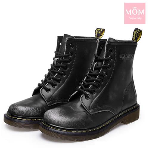 歐美經典款8孔綁帶真皮馬丁靴 短靴 工程靴 擦色灰 *MOM*