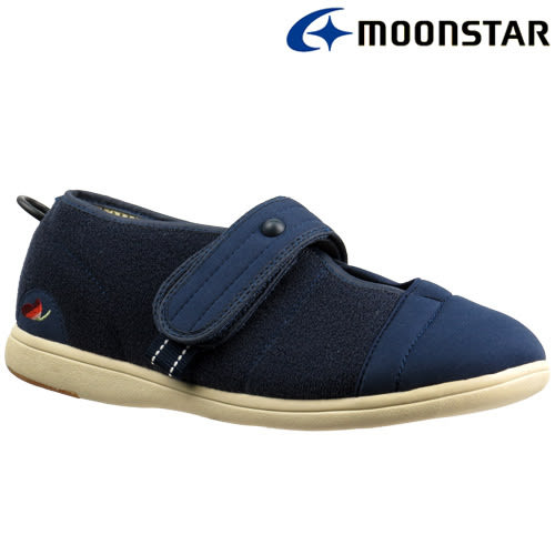 日本【MOONSTAR】Pastel 406健康照護介護鞋 - 深藍(4E超寬楦)