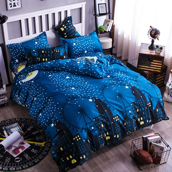 Artis台灣製 - 雙人床包+枕套二入【月夜之城】雪紡棉磨毛加工處理 親膚柔軟