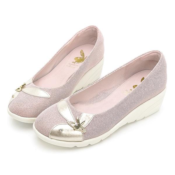 PLAYBOY 走不累Gorgeous增高娃娃鞋-玫瑰金(Y7297)