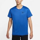 NIKE PRO DRI-FIT 男裝 短袖 慢跑 訓練 導濕 速乾 開衩下襬 藍【運動世界】CZ1182-492