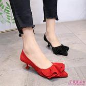 中跟鞋 中跟單根尖頭甜美粉色高跟鞋細跟卡其色單鞋(5色/34-39)