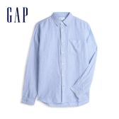 Gap 男裝 清爽格紋翻領長袖襯衫 548296-細藍條紋