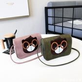 女生包包可愛卡通眼鏡熊小方包單肩斜背包春夏新款韓版百搭潮