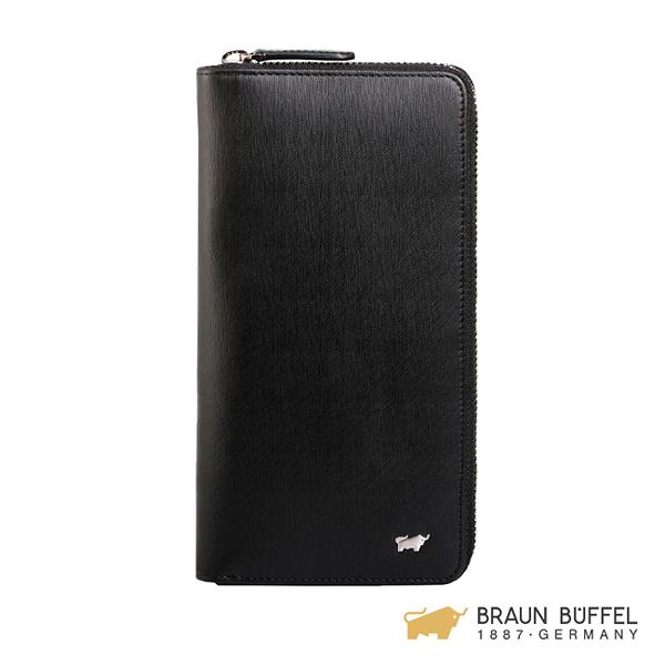 【BRAUN BUFFEL】HOMME-M系列21卡拉鍊長夾 -黯黑 BF306-305-BK