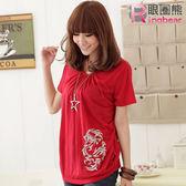 質感棉T--優雅中國風銀色枝葉寬版垂皺上衣(黑.灰.紅.紫S-XL)-U106眼圈熊中大尺碼◎