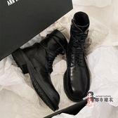 馬丁靴 英倫風2019新款百搭黑色系帶粗跟短靴ins網紅機車靴潮 35-40