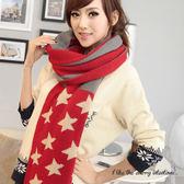 條紋國旗星星 雙面圍巾【櫻桃飾品】【21565 】