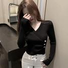 長袖打底針織衫女秋冬季新款設計感修身內搭上衣緊身V領毛衣 小山好物