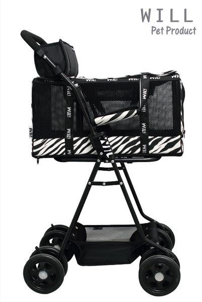 WILL設計 + 寵物用品 萬搭設計 雙層可拆式推車*WB03*超透氣網款☆黑網X斑馬
