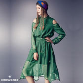 【SHOWCASE】綠葉刺繡典雅挖肩長袖微透雪紡長洋裝(綠)