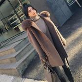 毛呢外套-長版純色寬鬆綁帶連帽女大衣73wd16[巴黎精品]