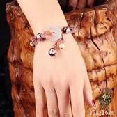 民族風手鍊復古粉色草莓晶手串招桃花平安扣琉璃貝殼裝飾品手飾女  XY3605  【KIKIKOKO】