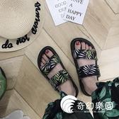 拖鞋-拖鞋女夏外穿新款時尚學生原宿風厚底沙灘鞋子涼鞋潮-奇幻樂園