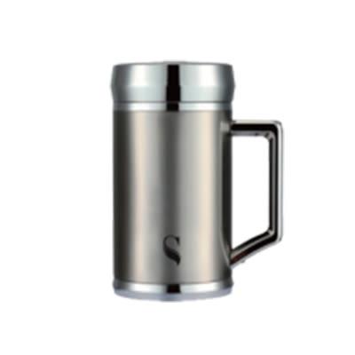 【等一個人咖啡】真空雙層內陶瓷保溫杯400ml-手把銀色