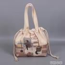 帆布飯盒袋子定制日式手提可愛大容量上班便當袋束口保溫袋便當包 簡而美