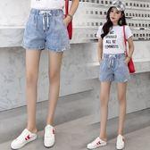 新款時尚百搭休閒鬆緊腰牛仔短褲女學生  東川崎町