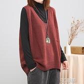 文藝復古腔調休閒寬鬆大碼隨性純色毛衣針織衫馬夾女V領春裝背心 3C優購