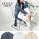 Queen Shop【01023497】透膚開岔長版襯衫 三色售*現+預*