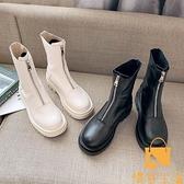 馬丁靴女薄款時尚休閒拉鏈單靴瘦瘦短靴【慢客生活】