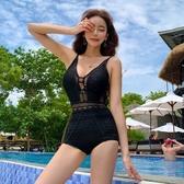 ins仙女風蕾絲鏤空V領性感露背遮肚顯瘦度假溫泉連身泳衣女 - 風尚3C